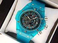 Мужские кварцевые наручные часы  Hublot (Хаблот) Big Bang Quartz Unico Sapphire синие - код 1561, фото 1