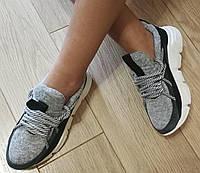 Женские стильные кроссовки Chanel текстиль с натуральной кожей Шанель, фото 1