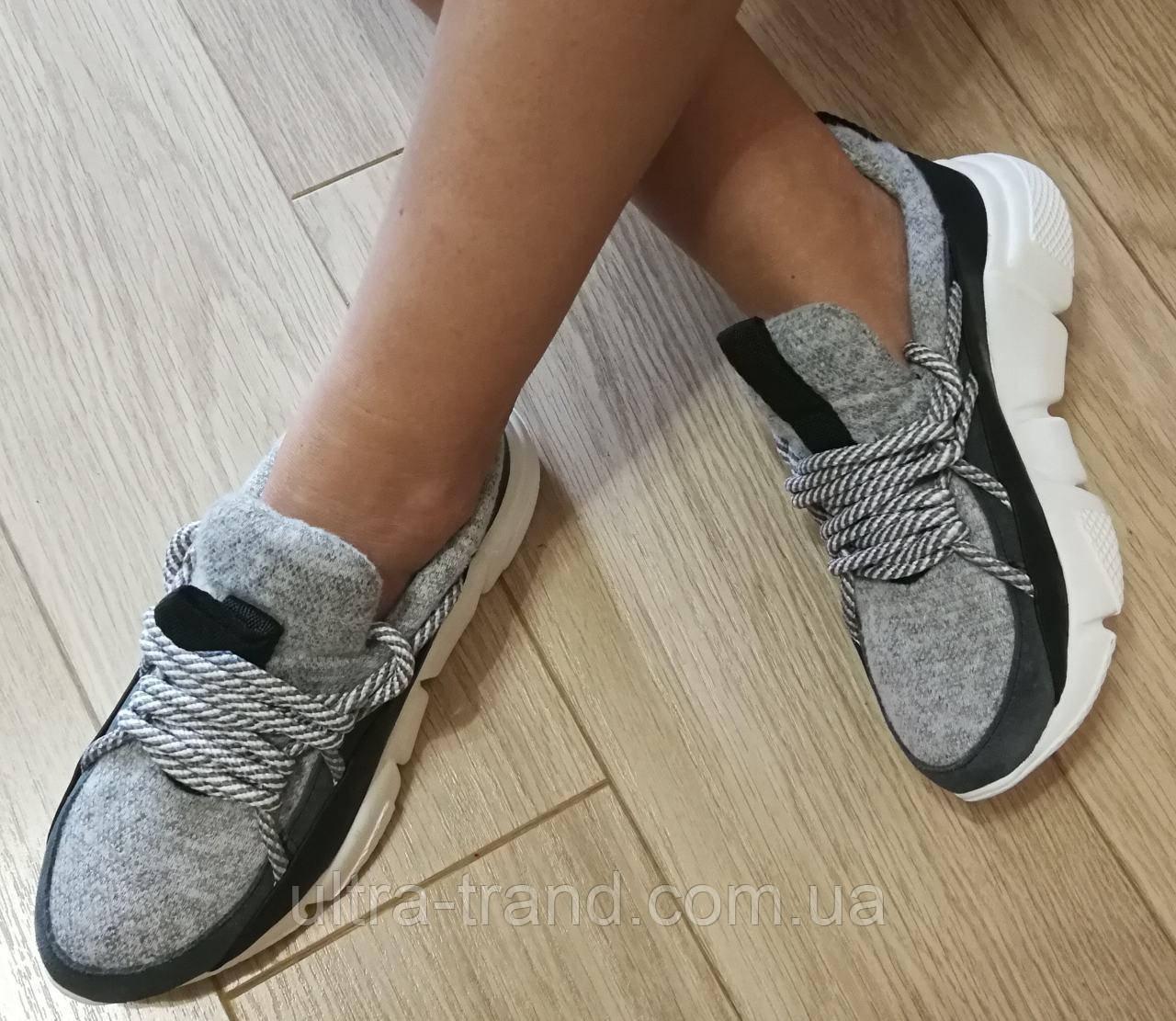 Женские стильные кроссовки Chanel текстиль с натуральной кожей Шанель