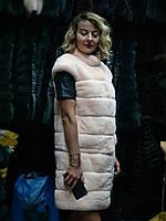 Стильная меховая жилетка из натурального меха кролика Рекc, женская шуба