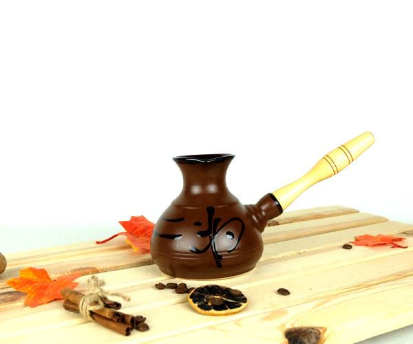 Турка Иероглиф мокко керамическая с деревянной ручкой 350 мл + рассекатель