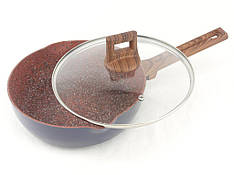 1742 Сковорода 24 см с крышкой, гранитное покрытие