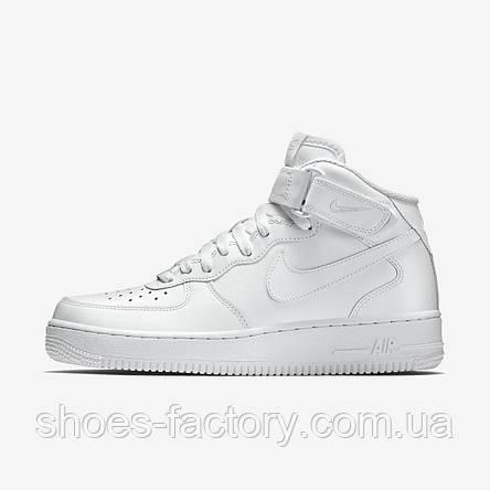 Белые мужские кроссовки в стиле Nike Air Force 1 Mid, White, фото 2