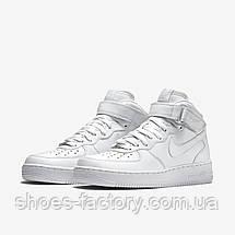 Белые мужские кроссовки в стиле Nike Air Force 1 Mid, White, фото 3