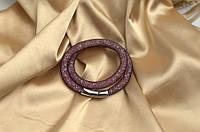 Двойной браслет  в стиле Stardust Swarovski Черно-розовый Премиум