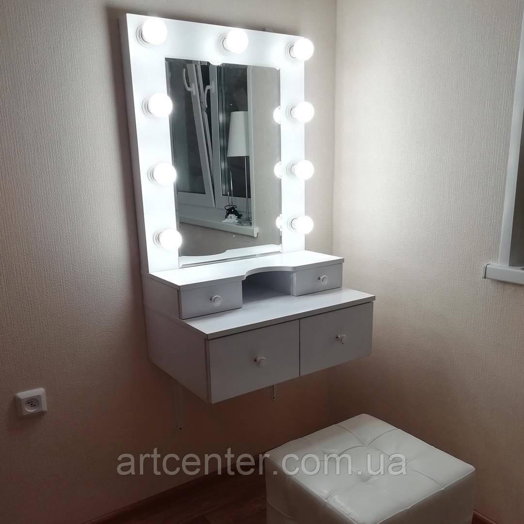 Навесной столик для макияжа с ящиками и зеркалом