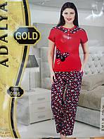 """Домашний костюм-пижама Adalya GOLD (0116) """"Бабочка"""" (бирюза). Р-р 38."""