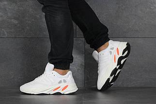 Мужские кроссовки белые эко замша и сетка, фото 3