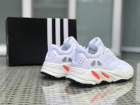 Мужские кроссовки белые эко замша и сетка, фото 2