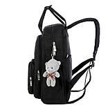 Рюкзак-сумка міський жіночий стильний для дівчаток, дівчат + брелок ВЕДМЕДИК (чорний), фото 4