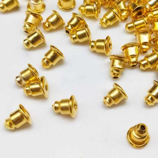 Зажим-заглушка для пуссет,  металл, 10шт цвет золото