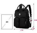 Рюкзак-сумка міський жіночий стильний для дівчаток, дівчат + брелок ВЕДМЕДИК (чорний), фото 7