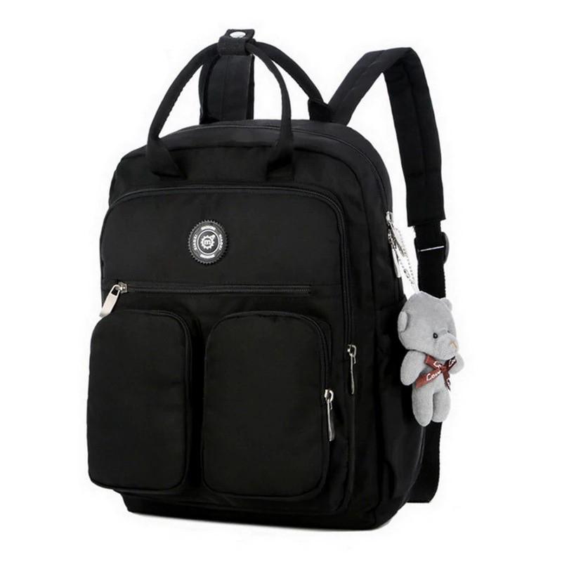Рюкзак-сумка міський жіночий стильний для дівчаток, дівчат + брелок ВЕДМЕДИК (чорний)