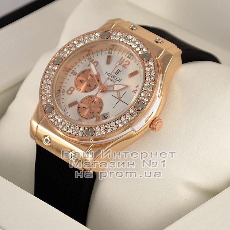 Женские наручные часы Hublot Big Bang Tutti Frutti Gold White Quartz Dimond Хублот качественные люкс реплика