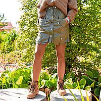Женская юбка из экокожи хаки