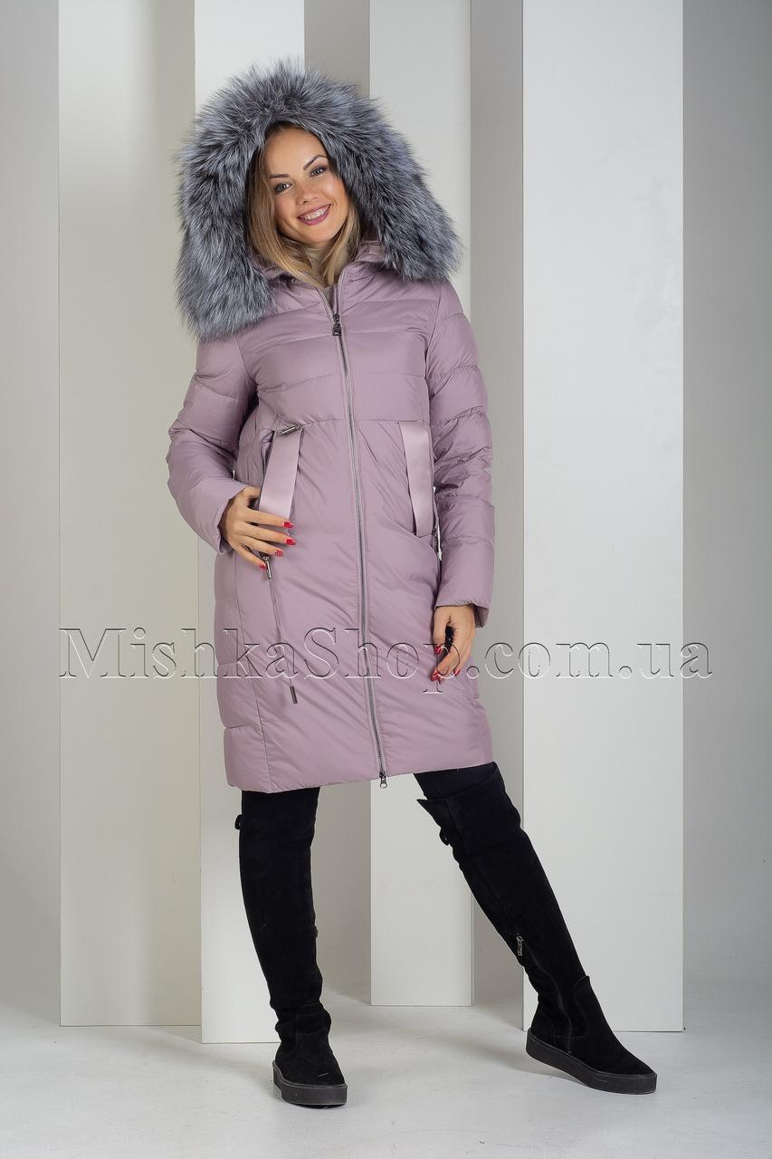 Красивый пуховик из матовой ткани с чернобуркой Peercat 19-096 цвета пудра