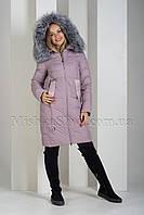Красивый пуховик из матовой ткани с чернобуркой Peercat 19-096 цвета пудра, фото 1