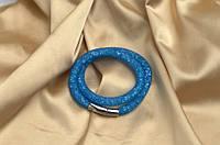 Двойной браслет  в стиле Stardust Swarovski ГолубойПремиум