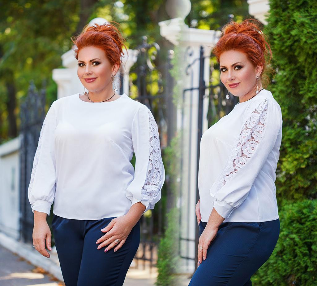"""Женская нарядная блуза в больших размерах 0460 """"Софт Рукава Разрезы Кружево"""" в расцветках"""