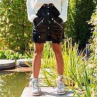 Женская юбка из экокожи черная
