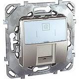 Розетка компьютерная RJ-45 (кат.5e), алюминий. Unica Top MGU3.411.30, фото 2