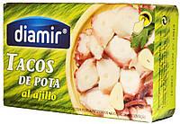 Осьминог кусочками в подсолнечном масле Diamir Tacos de Pota en aceite vegetal 111г.ж/б