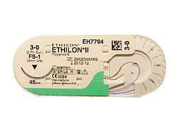 Етилон (Ethilon) 3-0 П-обратно-режущая Прайм (Prime*) 26мм, 3/8 Когда, голубой 45см, 1шт.
