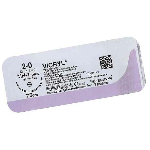 Викрил (VICRYL) 2.0, колюще-режущая Таперкат (Tapercut) 35 мм, 1/2 окружности, фиолетовый, 90 см, 1шт.