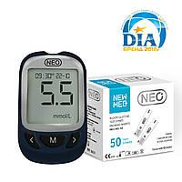 Система для контроля уровня глюкозы в крови - NEO (синий) + 50 тест-полосок