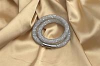 Двойной браслет  в стиле Stardust Swarovski Серый лед Премиум