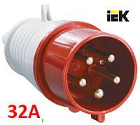 Силовая вилка переносная 025 32А-6ч/200/346-240/415В 3Р+РЕ+N IP44 IP-44 IEK, фото 1