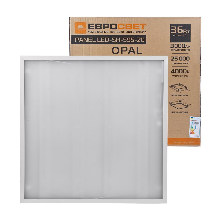 Светильник светодиодная панель ЕВРОСВЕТ 36Вт OPAL 4000K 3000Лм promo pack