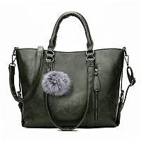 Женская классическая вместительная сумка Titote зеленая, фото 1