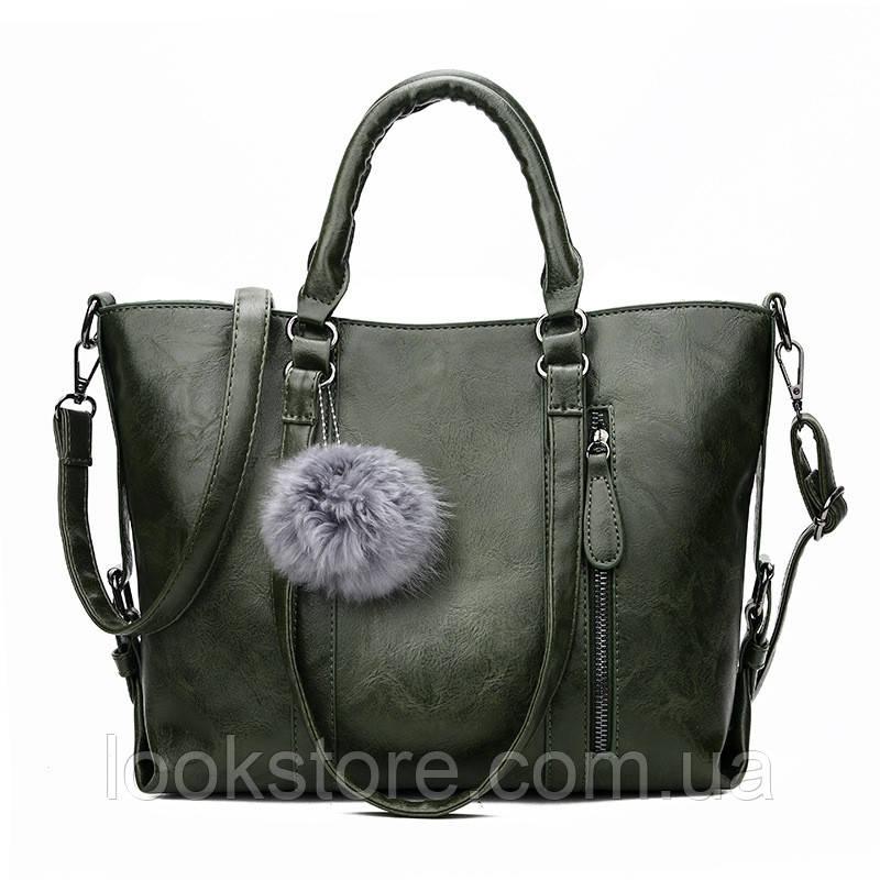 Женская классическая вместительная сумка Titote зеленая