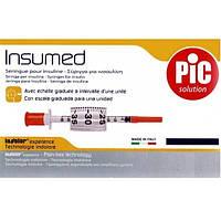 Шприцы инсулиновые стерильные INSUMED 0,5 мл с иглой 30G x 8 (0,30 х 8 мм), 30 шт / уп.
