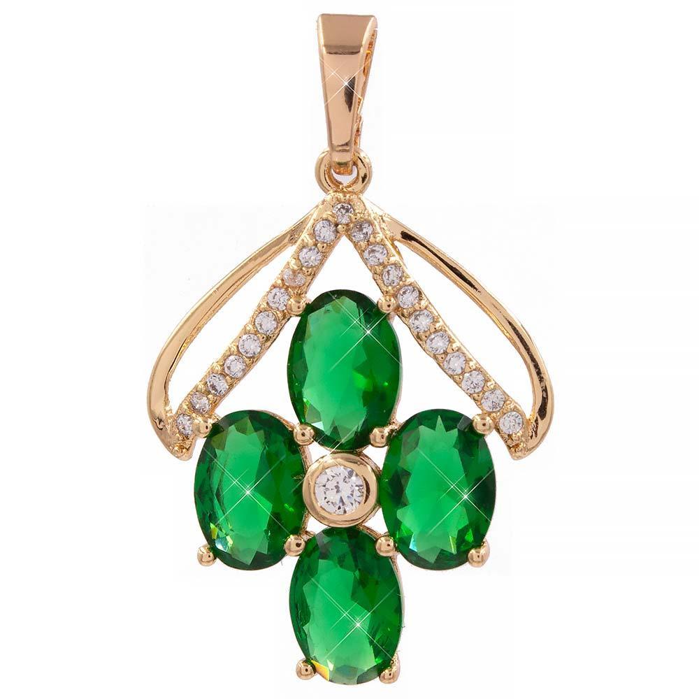 Подвеска «Цветочек под лепестками» зеленая лимонная позолота (Медицинское золото)