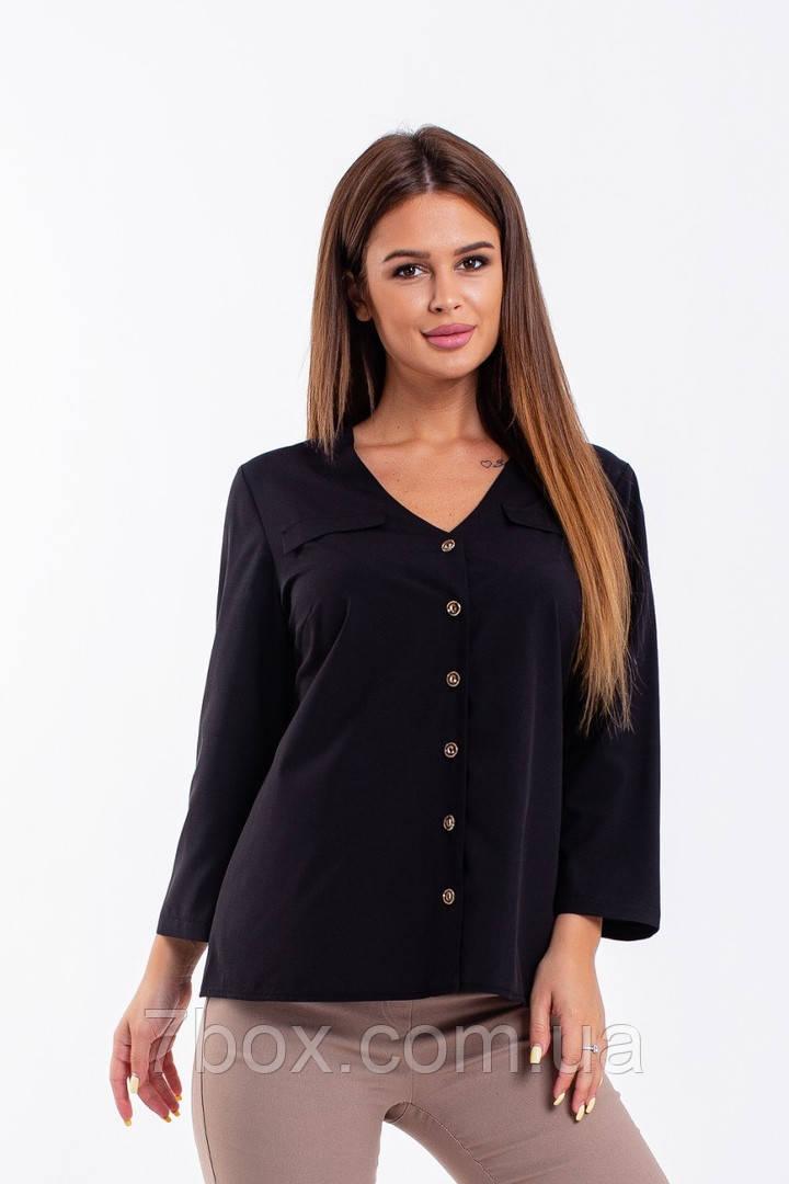 Блузка женская 52,56,58рр софт котон. Черный