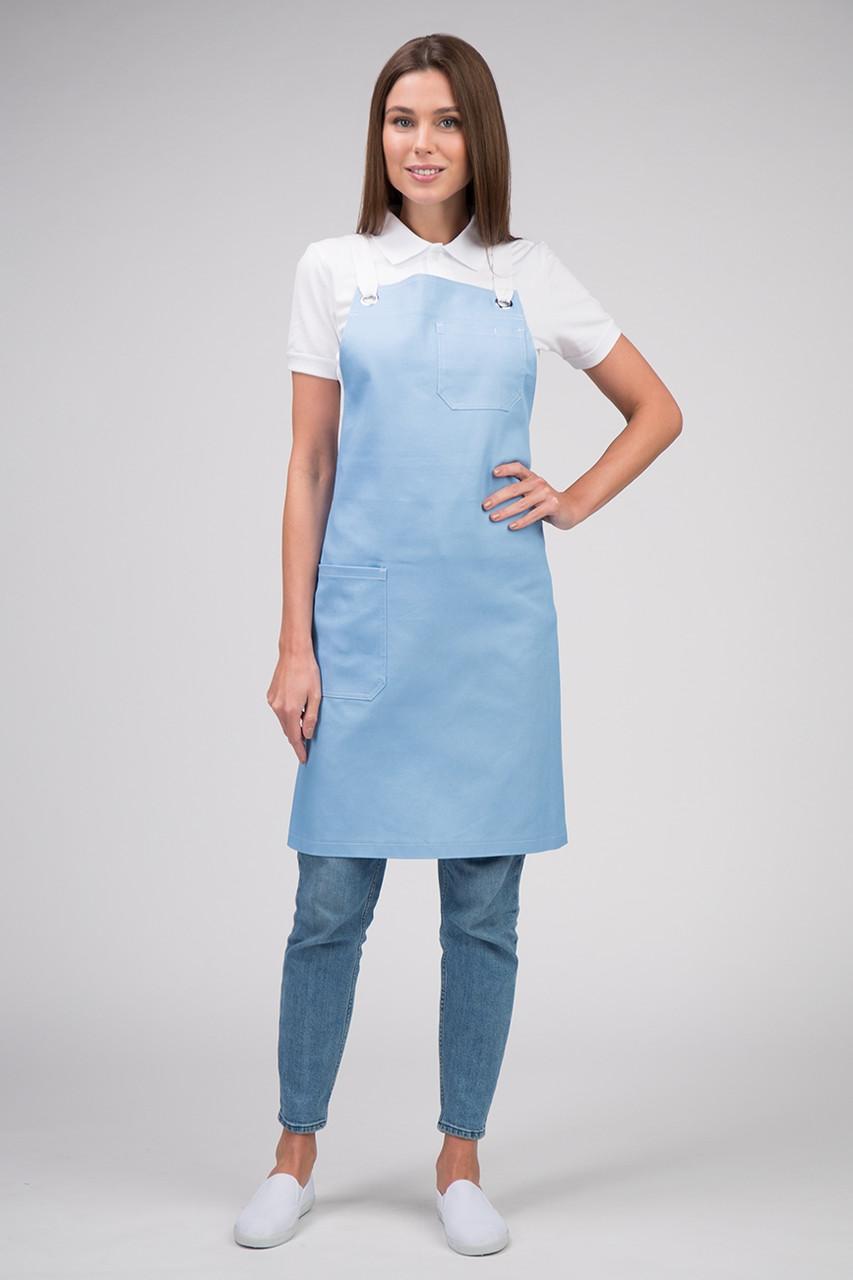 Фартук для официанта голубой Atteks с нагрудником - 00098