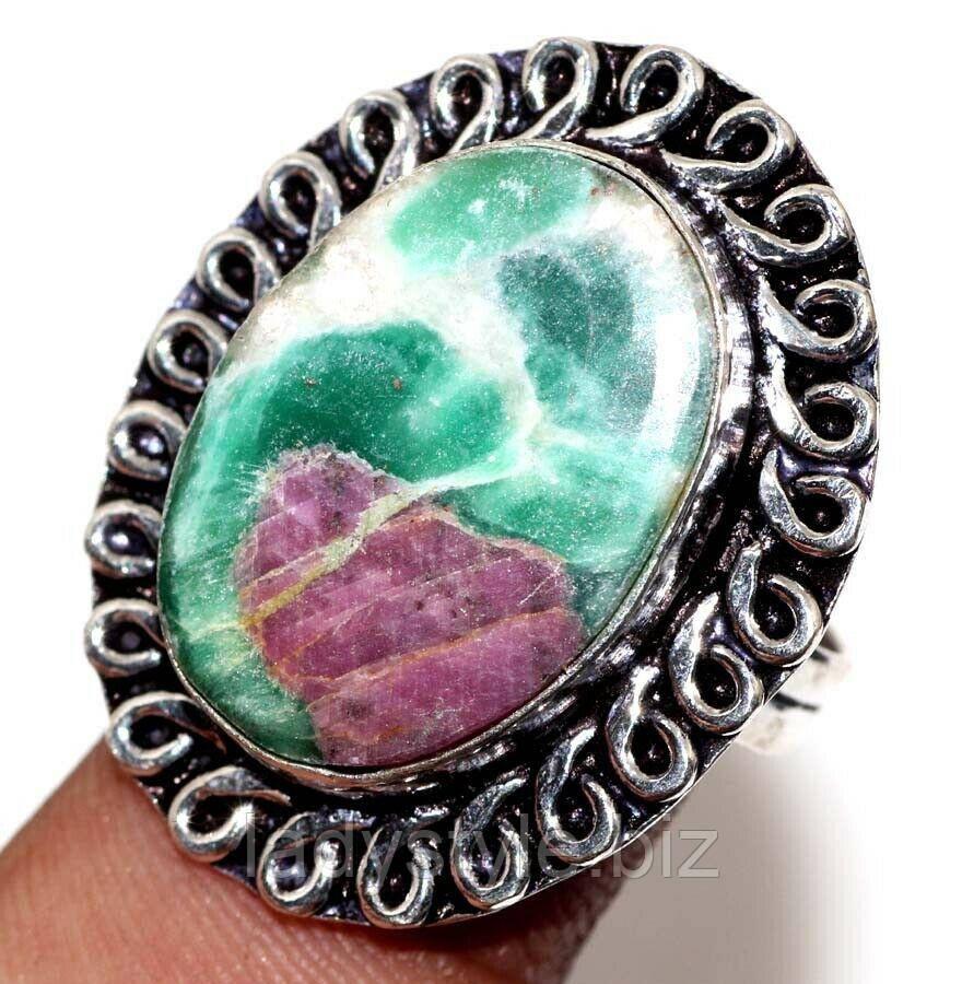 Овальный перстень с  цоизитом , размер 18.2