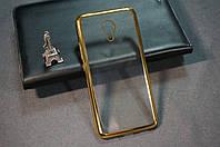 Чехол бампер силиконовый Meizu M5 ( Мейзу М5 ) Ультратонкий цвет с золотистый рамкой