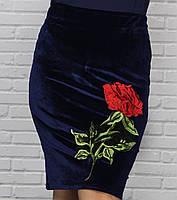 Облегающая юбка из велюра для пышных дам, фото 1