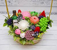 Букет цветов из мыла, фруктово-цветочная корзина