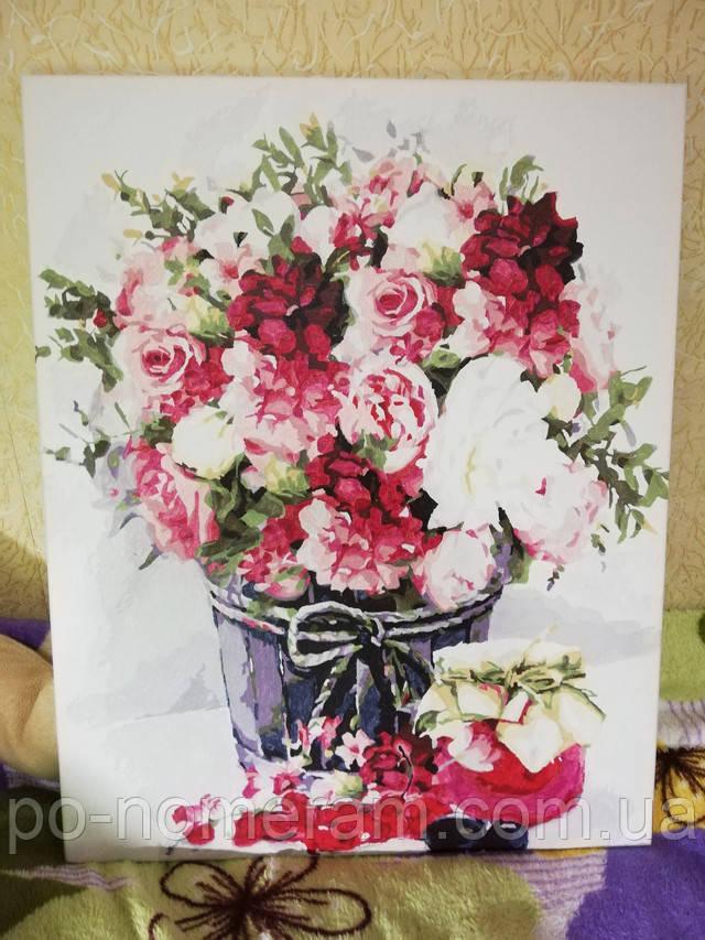 Картина по номерам Идейка Натюрморт с пионами и джемом