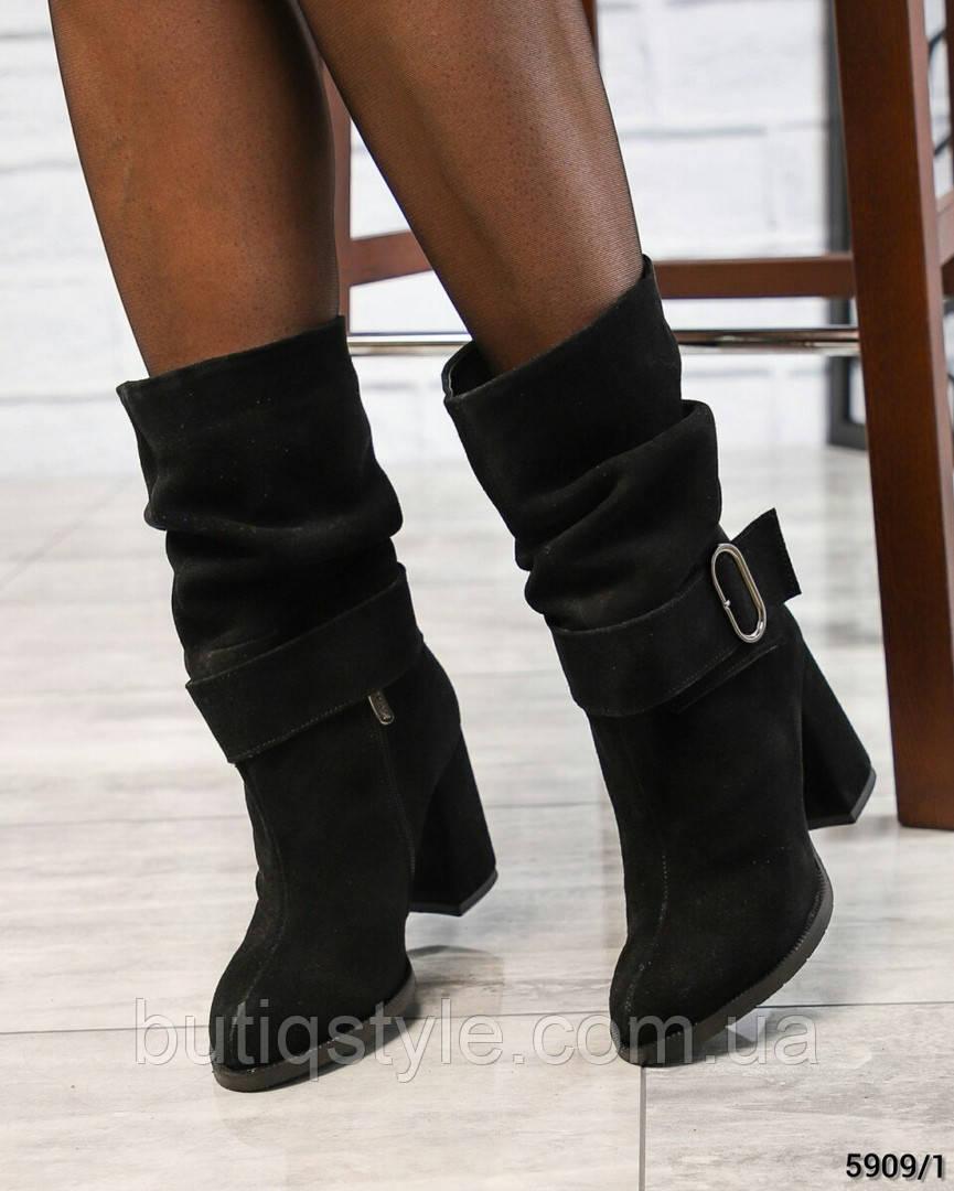 Женские черные ботильоны на каблуке натуральный замш Зима