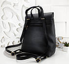 Женский рюкзак-сумка черного цвета, из структурной эко кожи (под бренд), фото 2