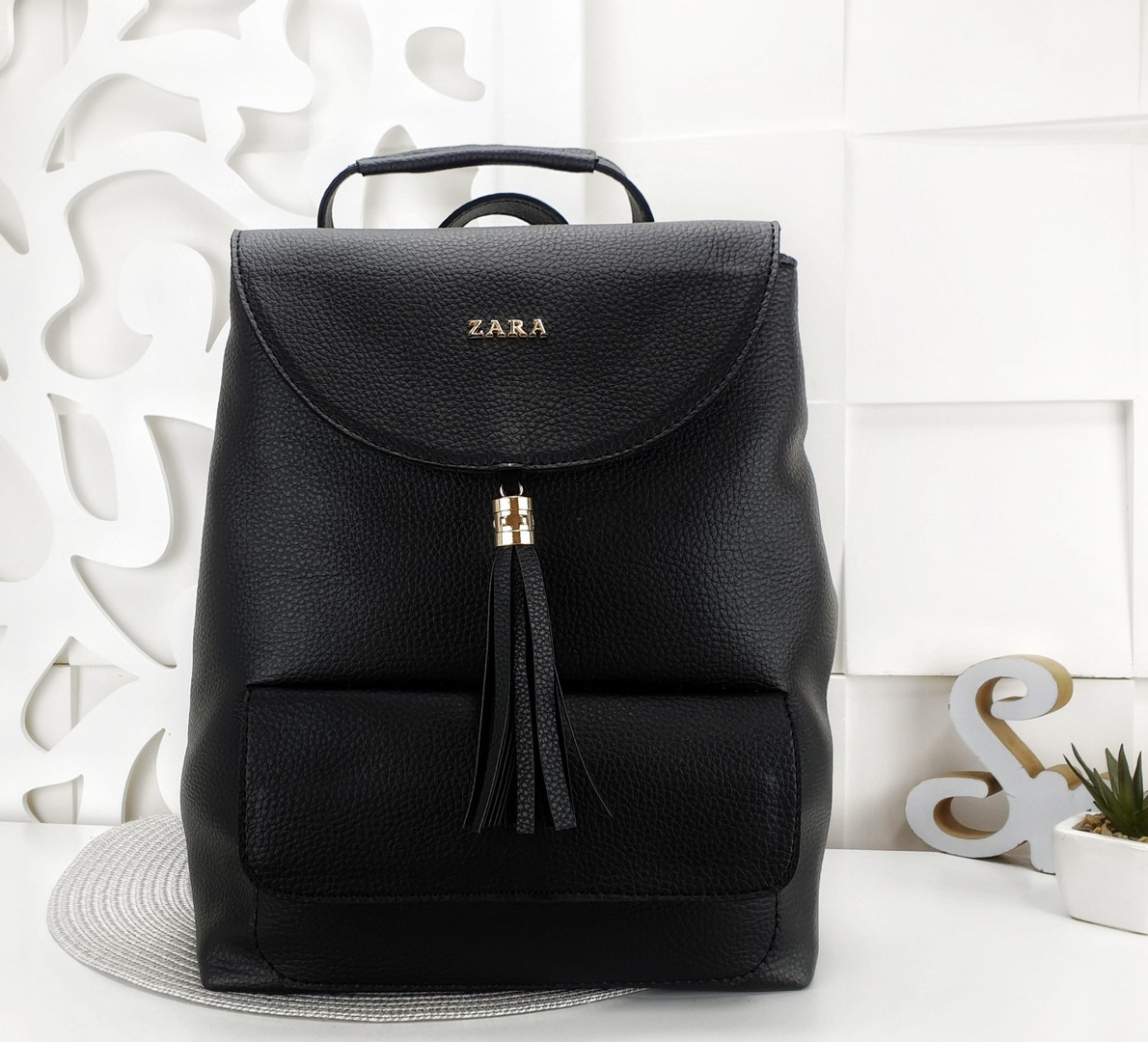 Женский рюкзак-сумка черного цвета, из структурной эко кожи (под бренд)