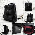 Женский рюкзак-сумка черного цвета, из структурной эко кожи (под бренд), фото 8