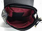 Женский рюкзак-сумка черного цвета, из структурной эко кожи (под бренд), фото 6