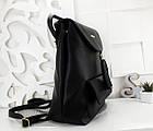 Женский рюкзак-сумка черного цвета, из структурной эко кожи (под бренд), фото 5