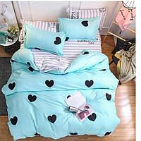 Качественное постельное белье Счастливчик бирюза, евро размер